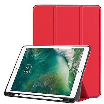 iPad Air 3(2019)ケース、カルストテクスチャPUレザーフォリオカバー、ペンスロット、レッド
