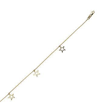 14k Yellow Gold Adjustable Open Dangle Star Trio Anklet 10 Inch Jewelry Gifts for Women - 1.7 Grams