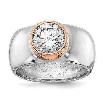 Cheryl M 925 Sterling Sølv Ramme Rose 14k Gullbelagt CZ Cubic Zirconia Simulert Diamant Ring Smykker Gaver Til Kvinner