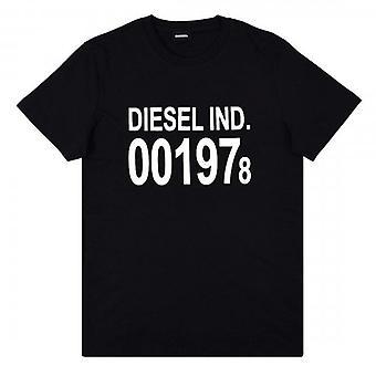 ديزل T-DIEGO-001978 شعار مطبوع تي شيرت أسود