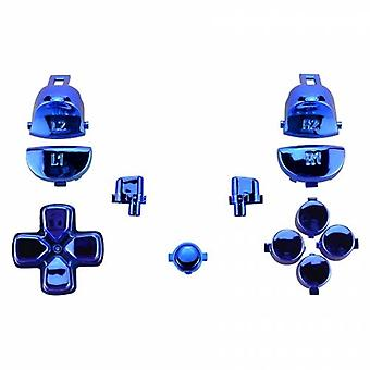 Button set for ps4 pro controllers sony jdm-040 mod set trigger, action, d-pad & option / share button set - chrome blue | zedlabz