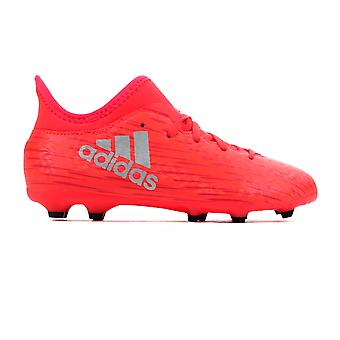 adidas X 16.3 FG Firm Ground Kids Football Soccer Boot Red/ Silver
