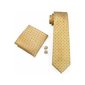 JSS Mens Yellow Red Check 100% Silk Pocket Square, Cufflink And Tie Set