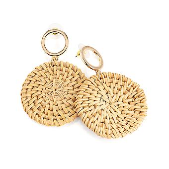 Gold & Brown Circular Woven Design 7cm Drop Fashion Earrings