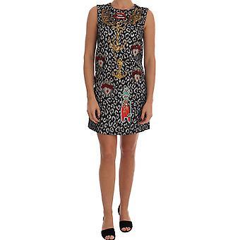 Dolce & Gabbana Multicolor Leo Jaquard Kristall verschönert Kleid