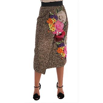 Dolce & Gabbana Gold Floral Silk Below Knee Shift Skirt