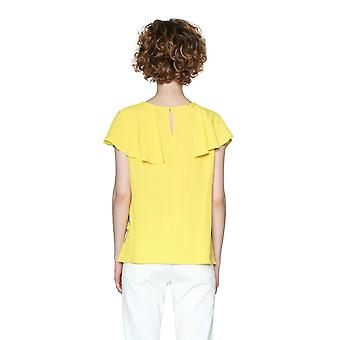 Desigual Women's Yellow Frilled Clarice Blouse