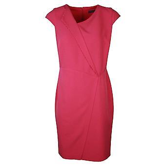 Michaela Louisa Fuchsia Pink Capped Sleeve Faux Wrap Dress