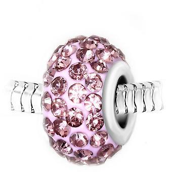 Charm perle pav� de cristaux roses et acier par SC Crystal BEA0105