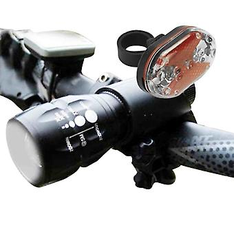 Q5 7w 450lm Cree Bike/cycle Lamp Lighting Set For Front And Back With Holder Zoom Torch