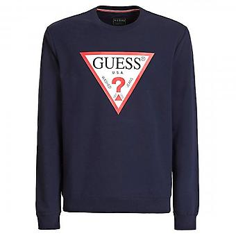 Guess Audley Classic Logo Crew Neck Sweatshirt Navy M0BQ37K7ON1