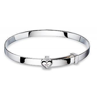 Little Star Gisele Zilver en Diamond Heart Baby Bangle