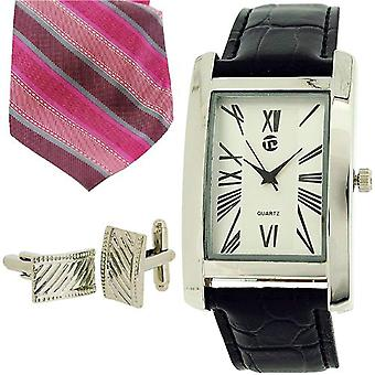 Time Design Gents Roman Numeral Watch, Tie &  Cufflinks Gift Set TDX5486G38