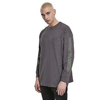 חולצה עירונית קלאסית גברים שרוול ארוך לוגו ניאון בורוקסי כיס