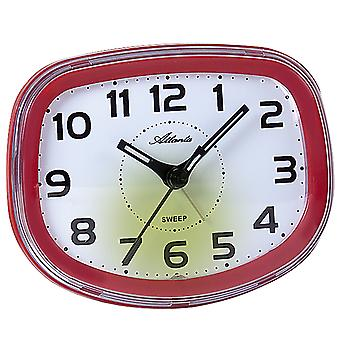 Atlanta 1951/1 Alarm clock quartz analog red quiet without ticking with light snooze