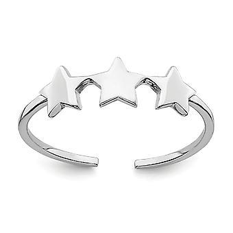 925 plata esterlina Rhodium plateado estrellas ajustableanillo joyería regalos para las mujeres - .8 gramos