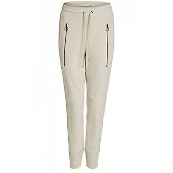 Oui Ecru Casual Fit Trousers