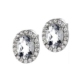Jacques Lemans - Sterling Silver Studs with White Topaz - SE-O116A