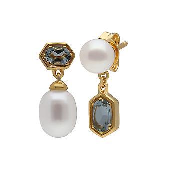 Moderne Perle & Aquamarin nicht übereinstimmende Tropfen Ohrringe in vergoldeten Sterling Silber 270E030204925