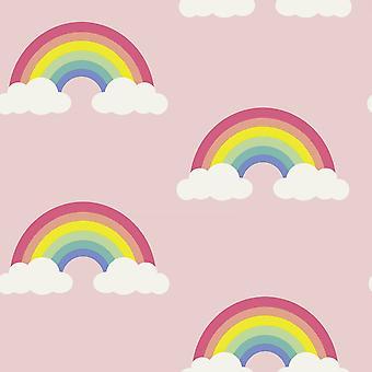 Belgravia Pretty Rainbow Wallpaper Clouds Sky Childrens Kids Bedroom Pink