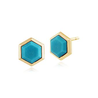 Geometric Turquoise Prism Stud Earrings in Gold Plated 925 Sterling Silver 271E012801925