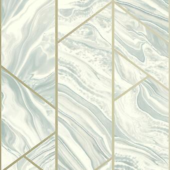 Marmor geometriska Glitter Tapet Teal Rasch 310924
