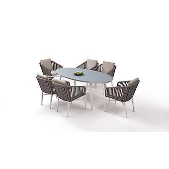 Alu Essgruppe Sudbury 6 - weiß Gartenmöbel