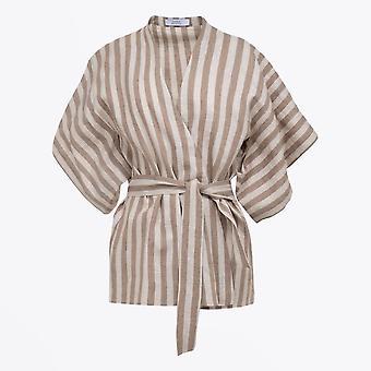 A-line  - Striped Kimono Top - Beige