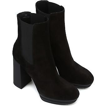 Hogan women's high heels chelsea boots in black suede