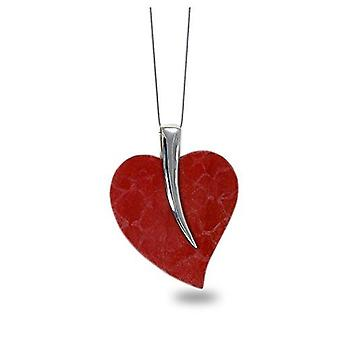 ADEN 925 Collier pendentif en forme de cœur de corail argenté sterling (id 4336)