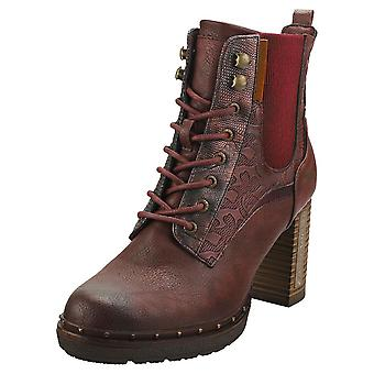 Mustang Side Zip Heel Womens Ankle Boots in Burgundy