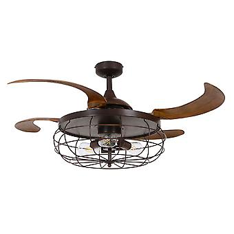 Retractable ceiling fan Industri Bronze with lights