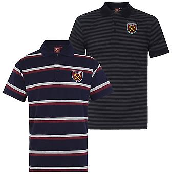 West Ham United Mens Polo Shirt Striped OFFICIAL Football Gift