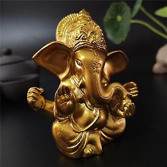 Lord Ganesha Gold Indian Elephant God Sculpture Figurine