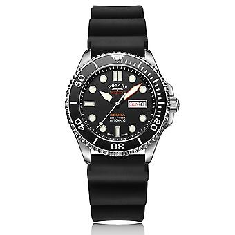 Rotary Super 7 SCUBA Automatic Black Dial Silicone Strap Men's Dive Watch S7S001S
