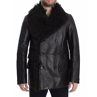 Dolce & Gabbana Black Lambskin Leather Jacket Trenchcoat SIG14063-4