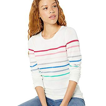 Essentials Women's Standard Lightweight Crewneck Sweater, Multi Placed Stripe, Medium
