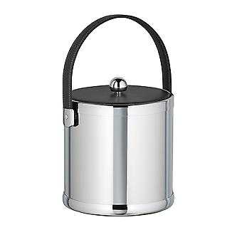 Polished Chrome 3 Qt Ice Bucket With Black Stitched Handle And Fabric Lid
