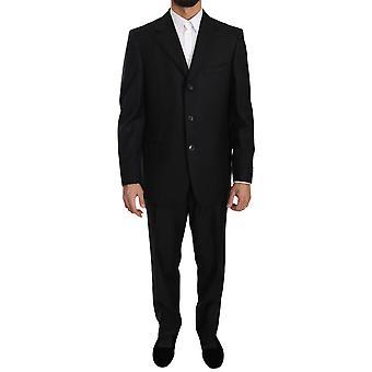 Ermenegildo Zegna negro dos piezas 3 botón traje de lana