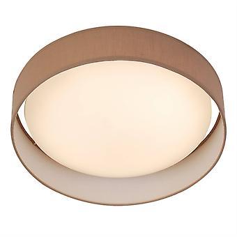 Søgelys Gianna - LED Runde Flush Loft Light White med Brun Shade