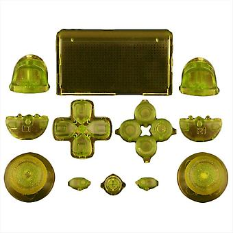 Full replacement button set mod kit for 1st gen sony ps4 controllers - transparent yellow