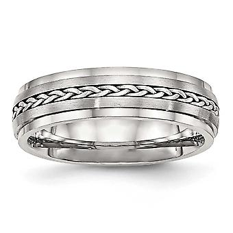 6.1mm Stainless Steel Polished and Brushed With Silver Braid Inlay Ring Jewelry Gifts for Women - Ring Size: 8 to 13