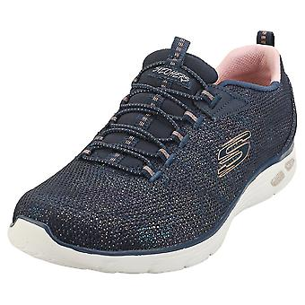 Skechers Empire Dlux Charming Grace Womens Fashion Trainers in Navy Gold