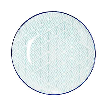 Nicola Spring Geometric Patterned Side Plate - Small Porcelain Dining Dish - Electric Blue - 19cm