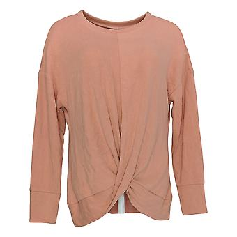 Lisa Rinna Collection Women's Top Brushed Hacci Twist Front Pink A374902