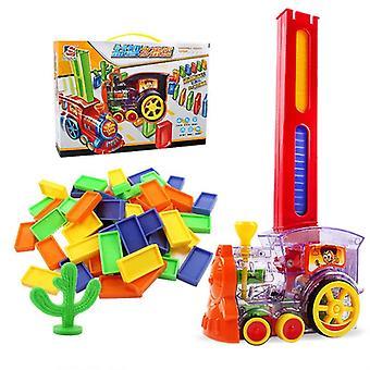ドミノトレインおもちゃセット - 60個のカラフルなドミノとのラリー電気列車モデル