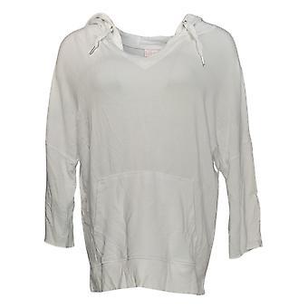 Belle par Kim Gravel Women's (XXS) Lounge Hooded Sweatshirt Blanc A351607