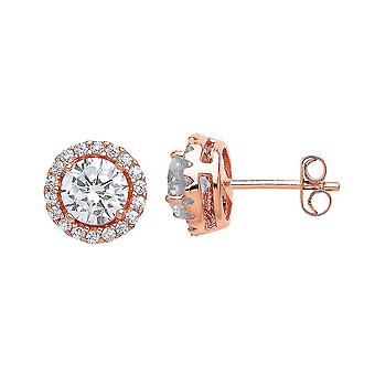 Jewelco London Ladies Rose Gold-Plated Sterling Silver Cubic Zirconia Halo Solitaire Stud Earrings