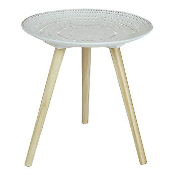 Charles Bentley Pressed Pattern Side Table Natural Small Round Rustic White Coffee Sofa End Bedside Stand Embossed Pine Wood 3 Legs Scandi
