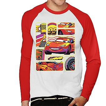 Pixar Cars Lightning McQueen Multiangle Montage Men''s Baseball Long Sleeved T-Shirt